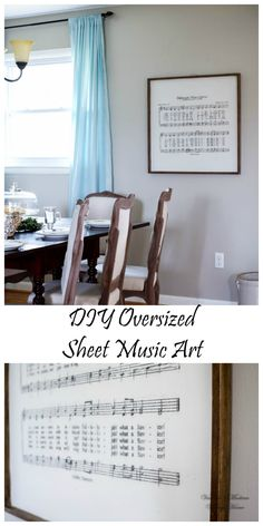 "DIY Oversized Hymn Sheet Music Art. ""Amazing Grace"" would look so great displayed like this. Follow these steps- Vanessa's Modern Vintage Home"