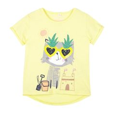 Girl's light yellow sunglasses cat t-shirt - Kids - Debenhams.com