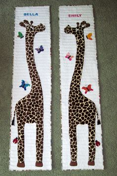 Giraffe growth charts I made for my twin granddaughters.  Pattern by Chi Chi Quilt Designs