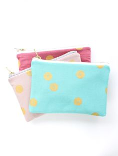 Gold Dot Clutches in Spring Colors