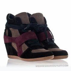 ASH Women's Bowie Wedge Sneaker Multi Prune Suede High-Top