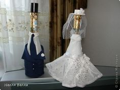 Свадебные бутылки Шитьё