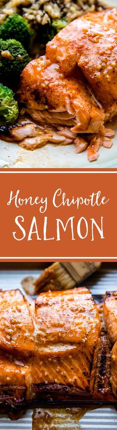 5 ingredient honey chipotle salmon with delicious garlic honey butter on top! Moist and tender with crispy edges. Grilled or baked salmon! Recipe on sallysbakingaddic. Salmon Recipes, Fish Recipes, Seafood Recipes, Cooking Recipes, Healthy Recipes, Ww Recipes, Healthy Meals, Easy Dinner Recipes, Easy Meals