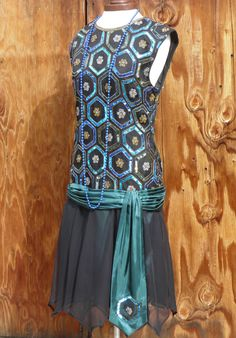 Great Gatsby Flapper 1920s Dress blue/green/black by twinBdesigns