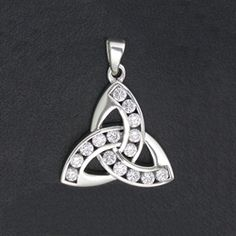 Sterling Silver Triquetra with CZ- Small Pendant
