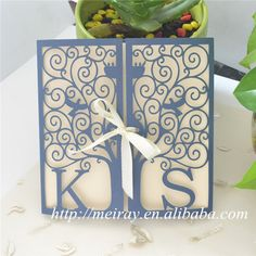 """wedding cards invitation 2015!  card craft supplies paper sleeves for invitations, """"happiness tree"""" laser cut invitation sleeves"""