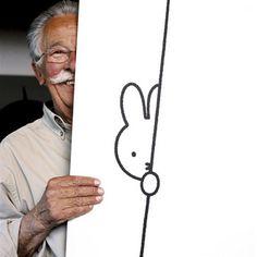 """Nijntje met haar """"vader"""" Dick Bruna (Miffy) www.cooleouders.wordpress.com"""