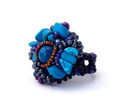 Freeform beaded ring - turquoise and cobalt blue OOAK jewelry