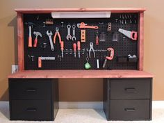 This is the workbench that my husband built for my 2 year old!