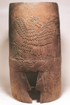 Wooden drum with carved eagle, Aztec Musical Instruments