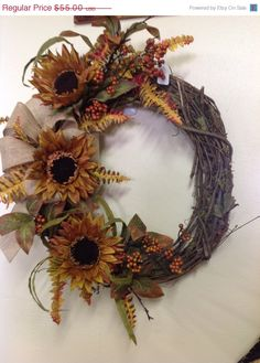 Fall burlap wreath/ thanksgiving