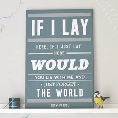 'chasing cars' snow patrol print by oakdene designs   notonthehighstreet.com this was my first dance song at our wedding....definitely having this print