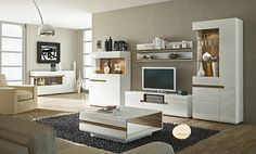 Linate 2 - white entertainment center cabinet / living room wall unit / tv stand for sale online Living Room Wall Units, Living Room Furniture, Modern Wall Units, Modern Tv, Modern Glass, Modern Living, Entertainment Wall Units, Oak Trim, Affordable Furniture