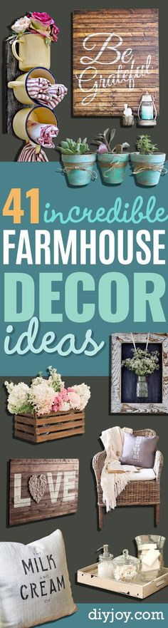 DIY Farmhouse Style Decor Ideas - Rustic Ideas for Furniture, Paint Colors, Farm House Decoration for Living Room, Kitchen and Bedroom http://diyjoy.com/diy-farmhouse-decor-ideas