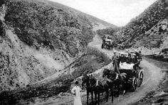 Old photograph of a coach and horses visit to Highland Perthshire, Scotland