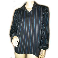 TALBOTS Womans NAVY BLUE Vertical PINSTRIPE STRIPE Button Down Collared Career TOP SHIRT $59.98 BUY NOW at   http://stores.ebay.com/Tropical-FEEL