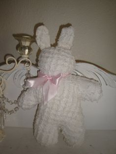 Shabby Cottage Chic Vintage White Chenille Bunny by JCKEEVER