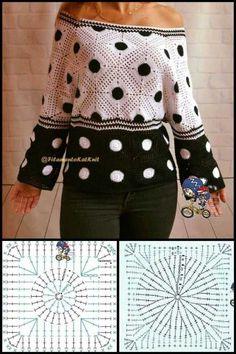 Crochet Coat, Crochet Blouse, Crochet Clothes, Crochet Poppy Pattern, Crochet Patterns, Knitting Patterns, Crochet Squares, Crochet Stitches, Crochet Summer Tops