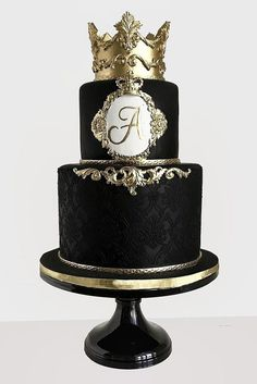 Black And White Wedding Cakes Ideas ❤ See more: http://www.weddingforward.com/black-and-white-wedding-cakes/ #weddings