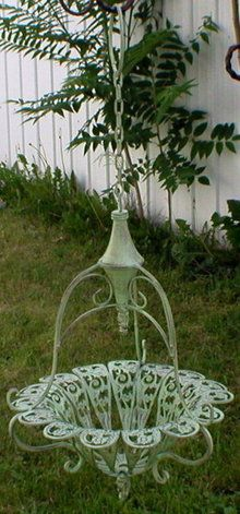 Ornate Hanging Planter   Mint Green Finish   Basket Is 13 In Diameter X  High   Chain That Holds Basket Is Long .