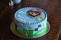 Super Mario Bros themed birthday cake