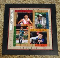 cool scrabble photo craft is a a perfect gift for grandma or others that are hard to buy for! Scrabble Crafts, Scrabble Art, Scrabble Tiles, Handmade Gifts For Grandma, Grandma Gifts, Craft Gifts, Diy Gifts, Photo Projects, Diy Projects