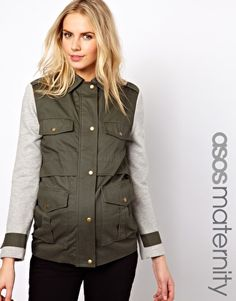 Image 1 ofASOS Maternity Parka With Contrast Sleeves