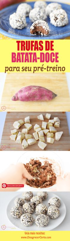 Trufas de Batata-doce Healthy Sweets, Healthy Cooking, Healthy Snacks, Healthy Eating, Healthy Chocolate, Chocolate Recipes, Food L, Good Food, Childrens Meals