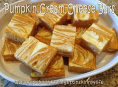 Skinny Pumpkin Cream Cheese Bars  1 box one step angle food cake 1 15oz can Pumpkin  3/4 Cup water 1/2 teaspoon cinnamon  1 8oz pkg cream cheese Softened cream cheese. Mix the cake mix, pumpkin, & cinnamon together (until smooth) Put in layers in a 9X13 dish, use knife in figure 8 motion for texture. Bake 35mins @ 375.