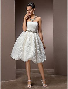 A-line Strapless Knee-length Lace Wedding Dress – USD $ 149.99