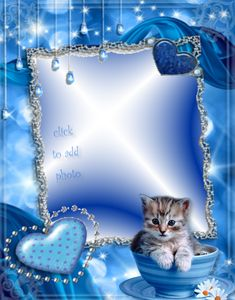 Blue frame with kitty & hearts Kiss Funny, Beautiful Love Pictures, Happy Birthday Photos, Art Carte, Birthday Frames, Digital Photo Frame, Frame Background, Borders And Frames, Wedding Frames