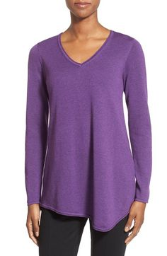 Eileen Fisher V-Neck Asymmetrical Hem Tunic Sweater available at #Nordstrom