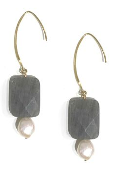 Charlene K 14K Gold Over Sterling Silver Labradorite & 10mm Baroque Pearl Hook Earrings