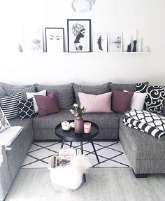 New living room white purple grey ideas Living Room White, New Living Room, Living Room Sets, Living Room Modern, Living Room Decor, Cozy Living, Small Living, Living Room Color Schemes, Living Room Colors