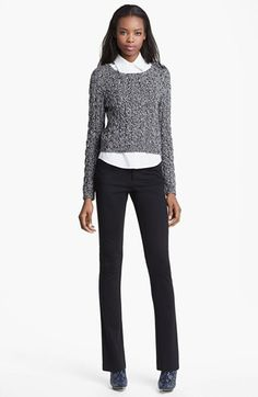 Alice + Olivia Crop Cable Sweater & Collared Shirt available at #Nordstrom