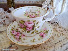 Royal Albert Flower of the Month JUNE Roses, Birthday, Wedding, c. Royal Albert, Tea Cup Set, Tea Sets, Vintage China, Presents, Shapes, Roses, Birthday, Tableware