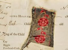 """One of the bits of fabric in the """"Threads of Feeling"""" collection.  These are bits of clothing left with babies who were admitted to the Foundling Hospital in London in the 18th century."""