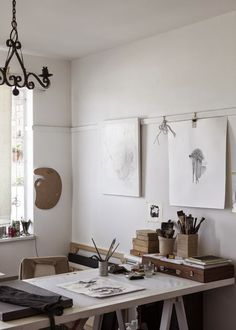 This is not my studio. I wish it could be because I crave light. This is my studio. My studio is in the basement of my...