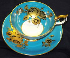 AYNSLEY GRAND ATHENS GOLDEN ROSES TURQUOISE AQUA TEA CUP AND SAUCER