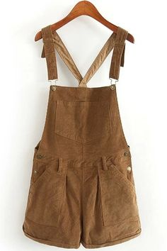 Solid Color Corduroy Pockets Overalls