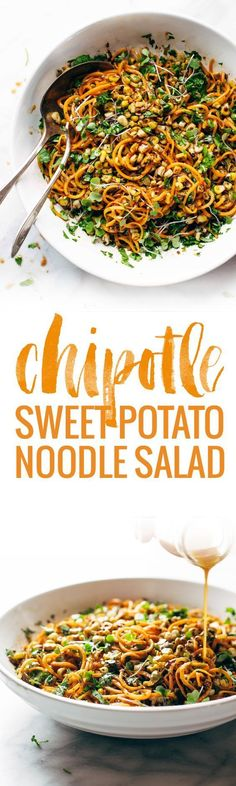 Chipotle Sweet Potato Noodle Salad with Roasted Corn - SUPER good real food salad with a short ingredient list! Cilantro, sweet potato, roasted corn, pepitas, and a homemade chipotle garlic dressing. Veggie Recipes, Whole Food Recipes, Salad Recipes, Vegetarian Recipes, Vegan Vegetarian, Cooking Recipes, Healthy Recipes, Healthy Dinners, Healthy Salads