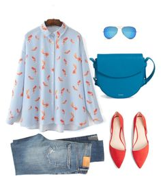 """goldfish"" by nori-nagy on Polyvore featuring Citizens of Humanity, Skagen, WithChic, MANGO and Ray-Ban"
