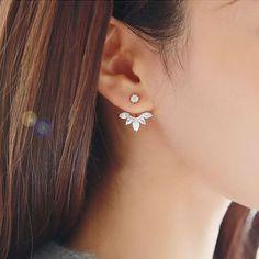 silver leaves wedding bridal earrings stud sets EWAER043