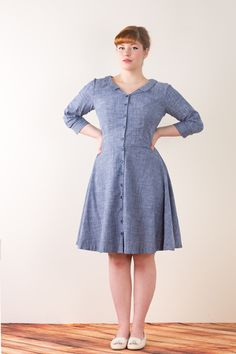 Love the new Colette Hawthorn dress pattern. So adorable...I especially love the little collar and the full skirt.