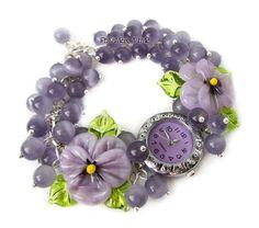 Floral women quartz lampwork  wrist bracelet watch от FlowerWatch
