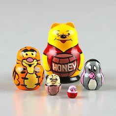 """1 1/4"""" Tall Winnie The Pooh Nesting Dolls"""
