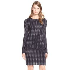 Tory BurchMetallic Stripe PeplumMerino WoolSweater ($350) ❤ liked on Polyvore featuring tops, sweaters, blue copper, merino wool sweater, blue striped sweater, blue peplum top, geometric sweater and blue crew neck sweater