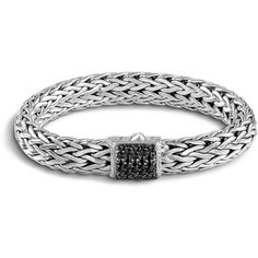 John Hardy Silver Classic Chain Bracelet w/ Pave Clasp ($1,295) ❤ liked on Polyvore featuring jewelry, bracelets, black sapphire, hand crafted jewelry, john hardy bangles, chains jewelry, john hardy jewellery and john hardy jewelry