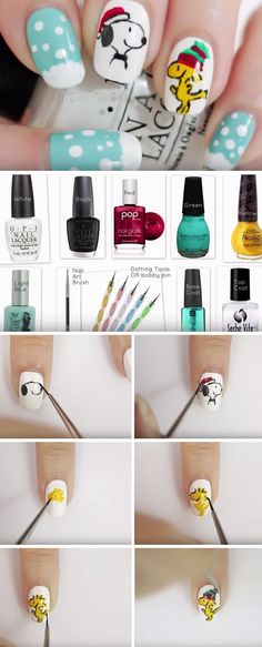 cool 27 DIY Christmas Nail Art Ideas For Short Nails - Pepino Nail Art Design (Diy Christmas Nails) Trendy Nail Art, Cute Nail Art, Easy Nail Art, Diy Christmas Nail Art, Holiday Nails, Snoopy Nails, Nail Art For Beginners, Christmas Nail Art Designs, Garra