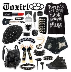 """Untitled #4"" by toxirl ❤ liked on Polyvore featuring R13, X Games, Kreepsville 666, Rich and Damned, NYX, Amrita Singh, MANGO, Converse, black and spikes"